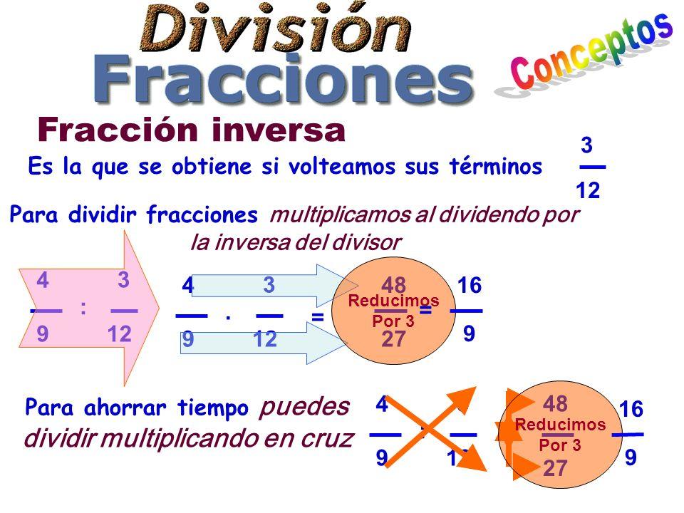 Fracción inversa 3 12 4 9 : 3 Es la que se obtiene si volteamos sus términos Para dividir fracciones multiplicamos al dividendo por la inversa del divisor 3 12 4 9.