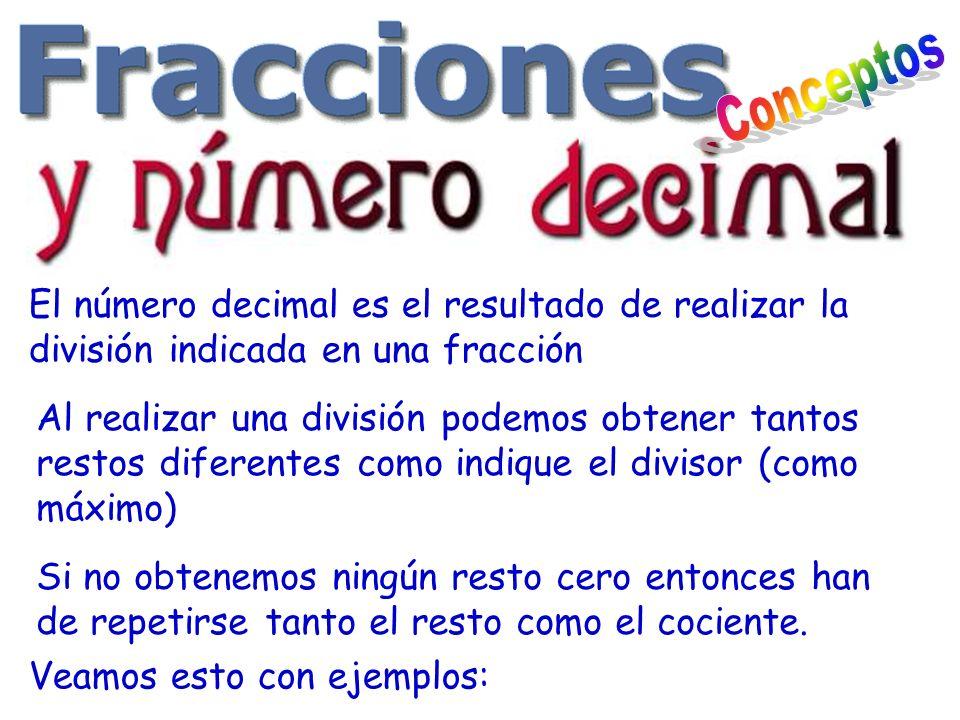 El número decimal es el resultado de realizar la división indicada en una fracción Al realizar una división podemos obtener tantos restos diferentes c