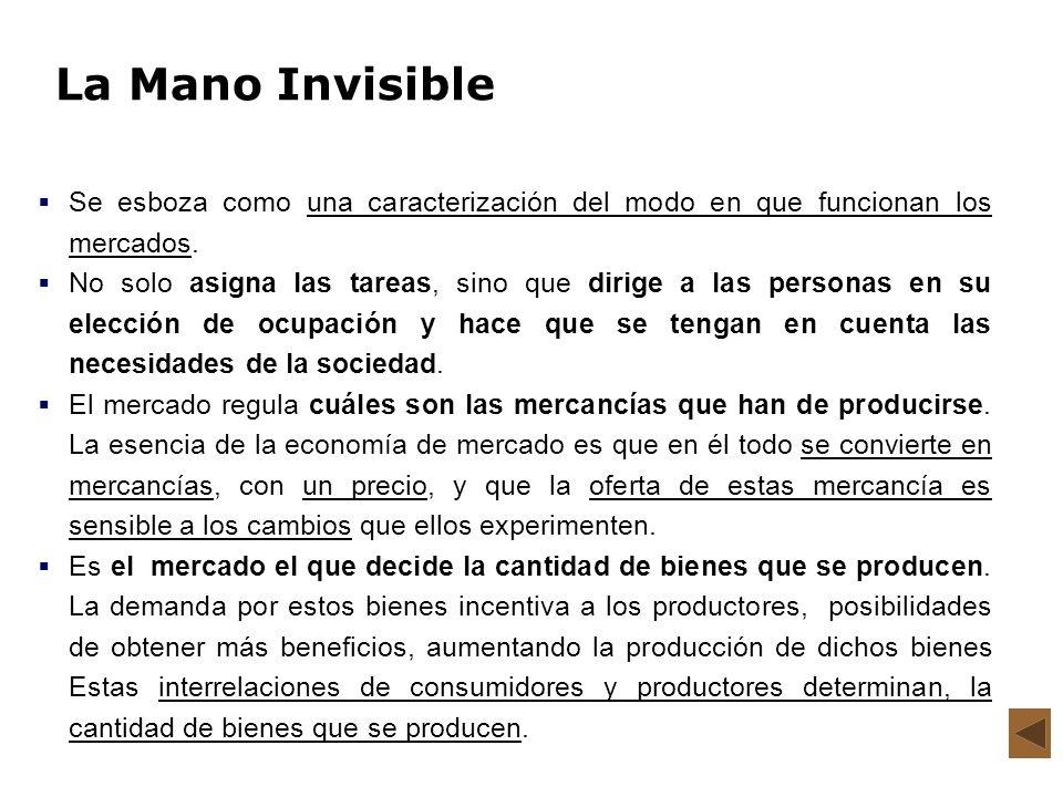 La Mano Invisible Se esboza como una caracterización del modo en que funcionan los mercados. No solo asigna las tareas, sino que dirige a las personas