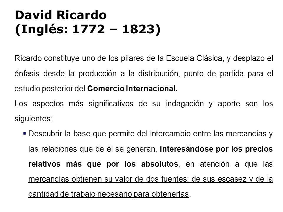 David Ricardo (Inglés: 1772 – 1823) Ricardo constituye uno de los pilares de la Escuela Clásica, y desplazo el énfasis desde la producción a la distri