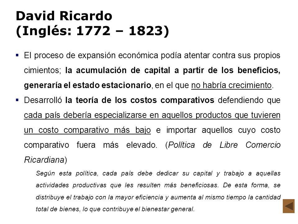 David Ricardo (Inglés: 1772 – 1823) El proceso de expansión económica podía atentar contra sus propios cimientos; la acumulación de capital a partir d