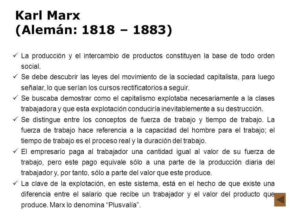 Karl Marx (Alemán: 1818 – 1883) La producción y el intercambio de productos constituyen la base de todo orden social. Se debe descubrir las leyes del