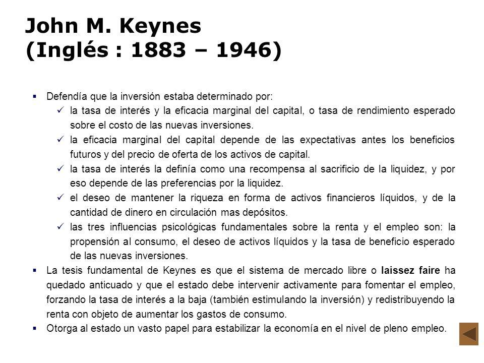 John M. Keynes (Inglés : 1883 – 1946) Defendía que la inversión estaba determinado por: la tasa de interés y la eficacia marginal del capital, o tasa