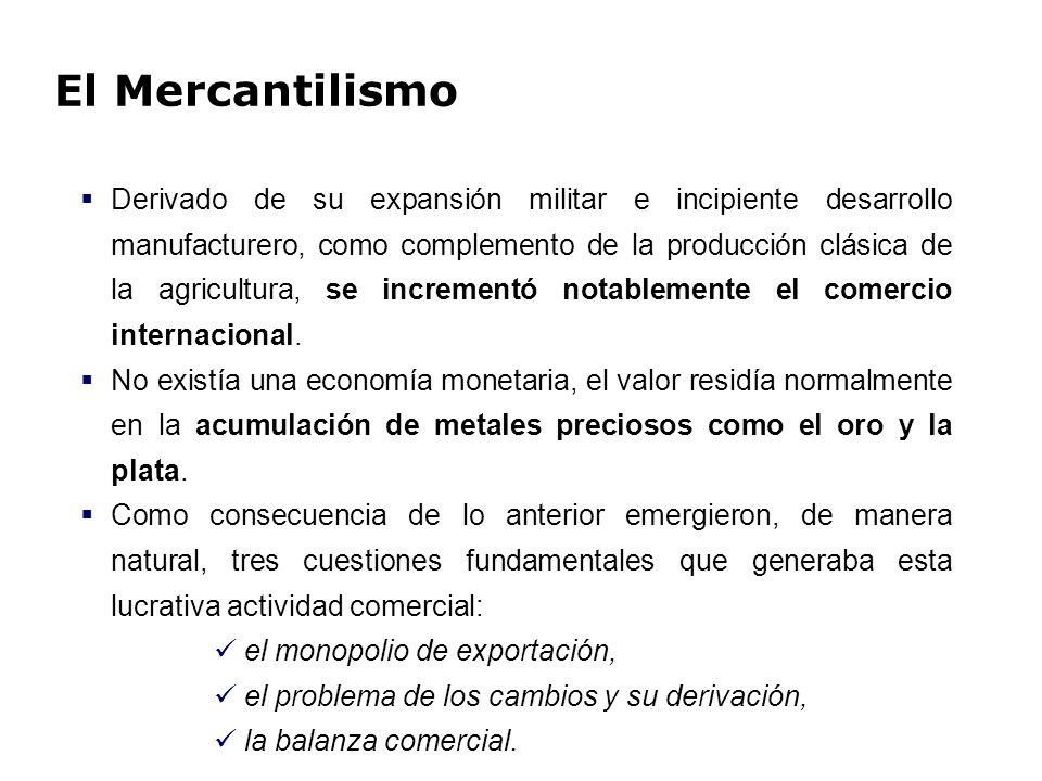 El Mercantilismo El pensamiento se puede sintetizar de la siguiente manera: Minimizar las exportaciones de oro y plata, dado que éstos, en cuanto a medio de intercambio como dinero mercancía, representaba el definitiva acumulación de riqueza (expresión tangible de los beneficios de la actividad exportadora).