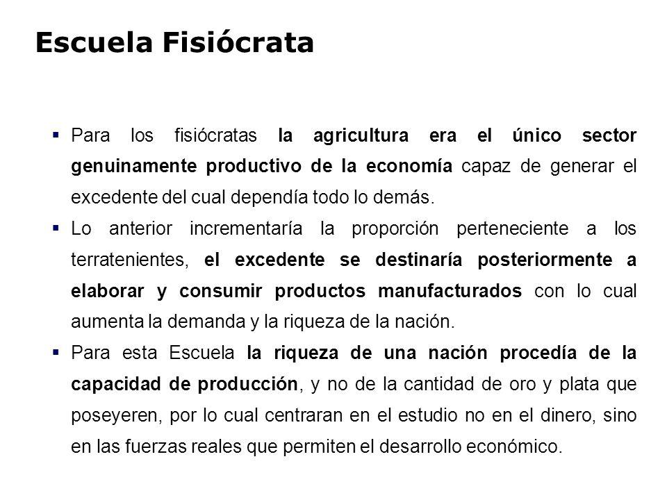 Escuela Fisiócrata Para los fisiócratas la agricultura era el único sector genuinamente productivo de la economía capaz de generar el excedente del cu