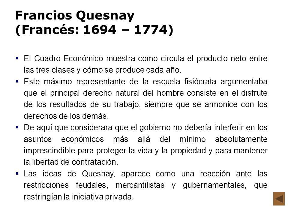Francios Quesnay (Francés: 1694 – 1774) El Cuadro Económico muestra como circula el producto neto entre las tres clases y cómo se produce cada año. Es