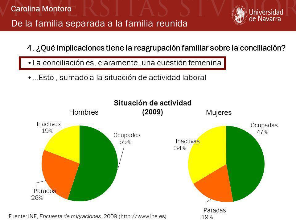 De la familia separada a la familia reunida 4. ¿Qué implicaciones tiene la reagrupación familiar sobre la conciliación? La conciliación es, claramente