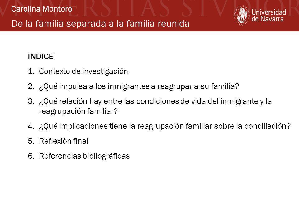 De la familia separada a la familia reunida INDICE 1.Contexto de investigación 2.¿Qué impulsa a los inmigrantes a reagrupar a su familia? 3.¿Qué relac