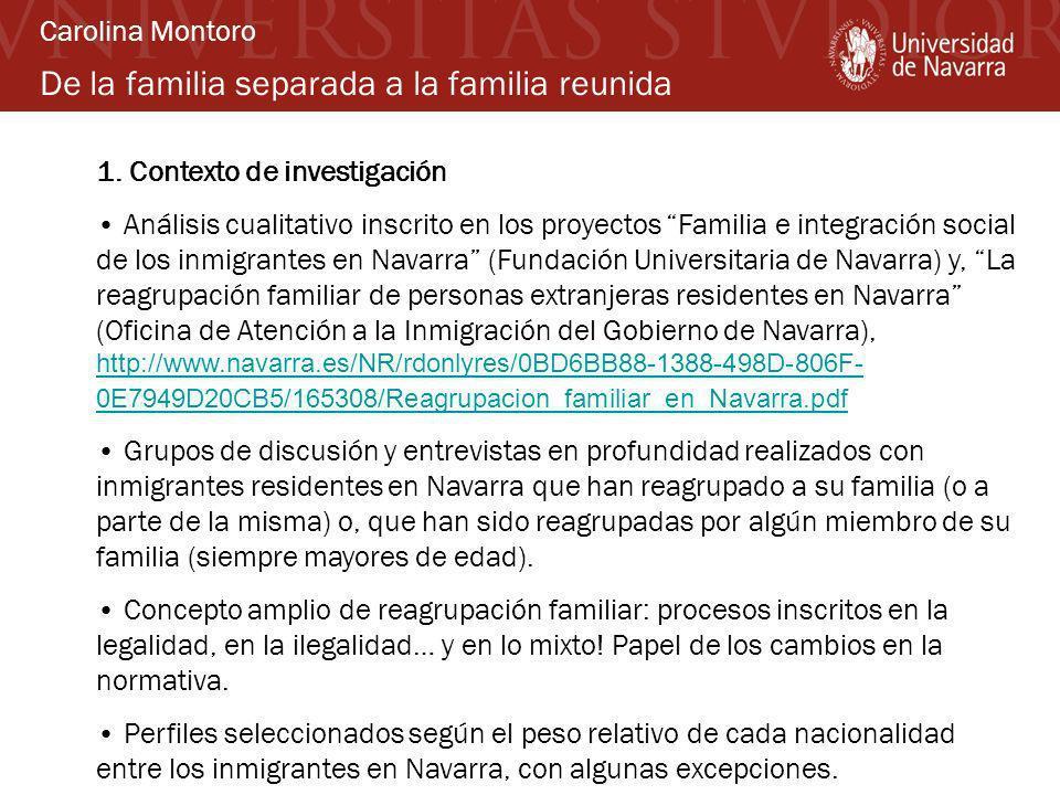 De la familia separada a la familia reunida 1. Contexto de investigación Análisis cualitativo inscrito en los proyectos Familia e integración social d