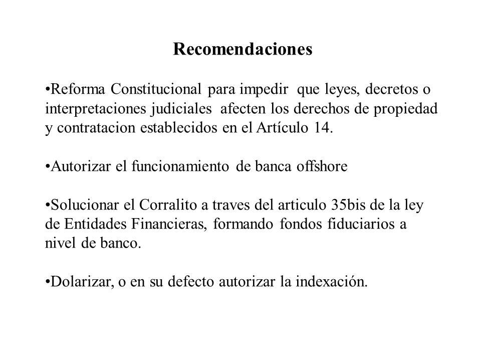 Recomendaciones Reforma Constitucional para impedir que leyes, decretos o interpretaciones judiciales afecten los derechos de propiedad y contratacion