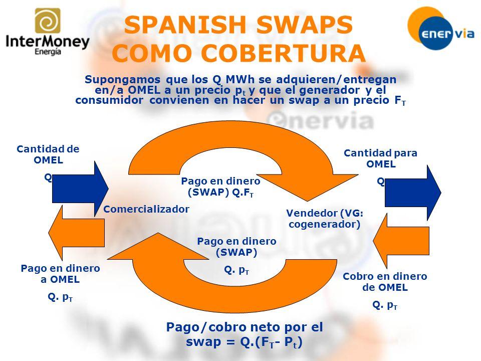 Pago en dinero (SWAP) Q. p T Pago/cobro neto por el swap = Q.(F T - P t ) Pago en dinero (SWAP) Q.F T Cantidad de OMEL Q Pago en dinero a OMEL Q. p T