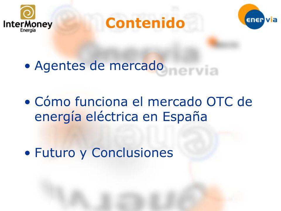 Contenido Agentes de mercado Cómo funciona el mercado OTC de energía eléctrica en España Futuro y Conclusiones