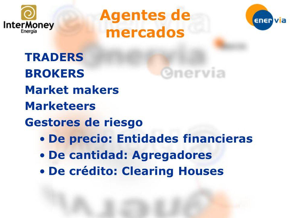 Agentes de mercados TRADERS BROKERS Market makers Marketeers Gestores de riesgo De precio: Entidades financieras De cantidad: Agregadores De crédito:
