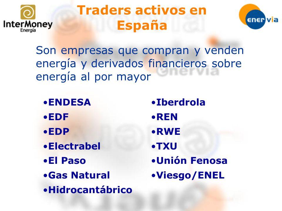 Traders activos en España Son empresas que compran y venden energía y derivados financieros sobre energía al por mayor ENDESA EDF EDP Electrabel El Pa