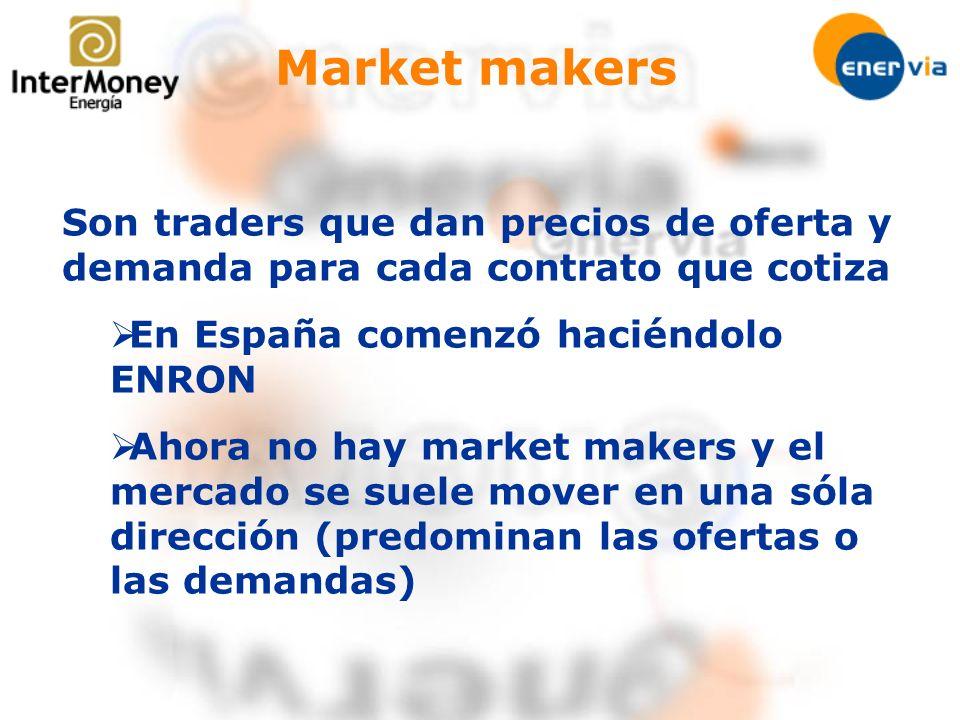 Market makers Son traders que dan precios de oferta y demanda para cada contrato que cotiza En España comenzó haciéndolo ENRON Ahora no hay market mak