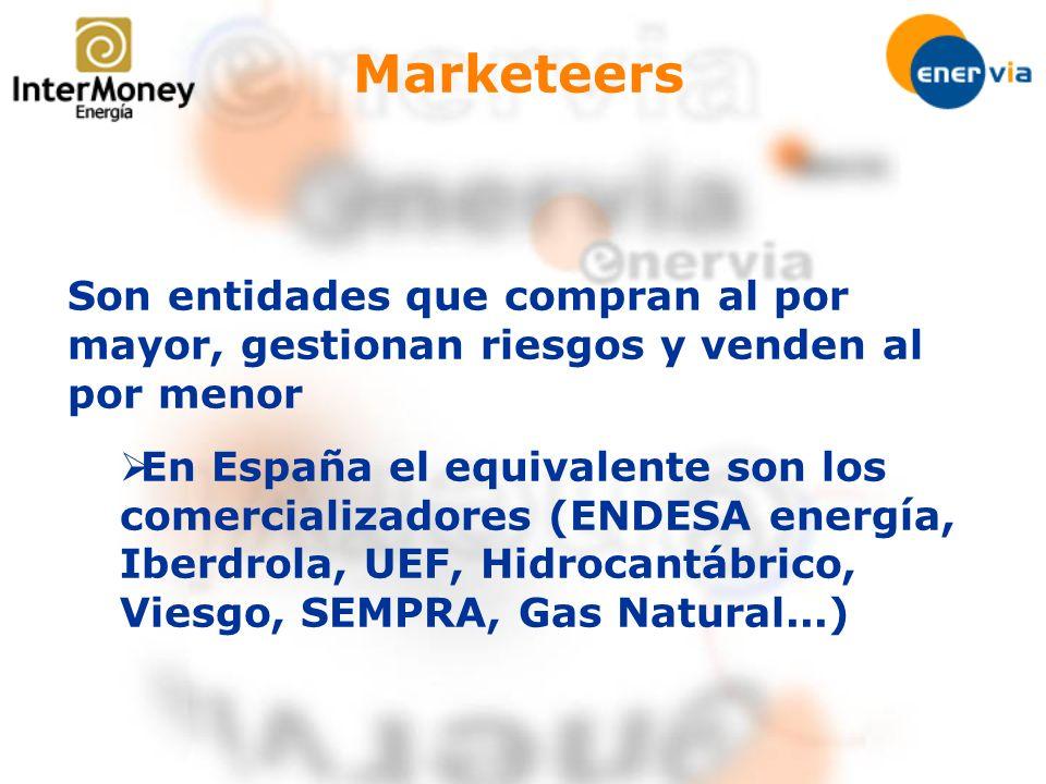 Marketeers Son entidades que compran al por mayor, gestionan riesgos y venden al por menor En España el equivalente son los comercializadores (ENDESA
