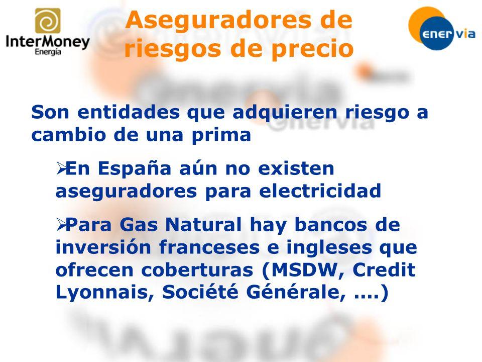 Aseguradores de riesgos de precio Son entidades que adquieren riesgo a cambio de una prima En España aún no existen aseguradores para electricidad Par
