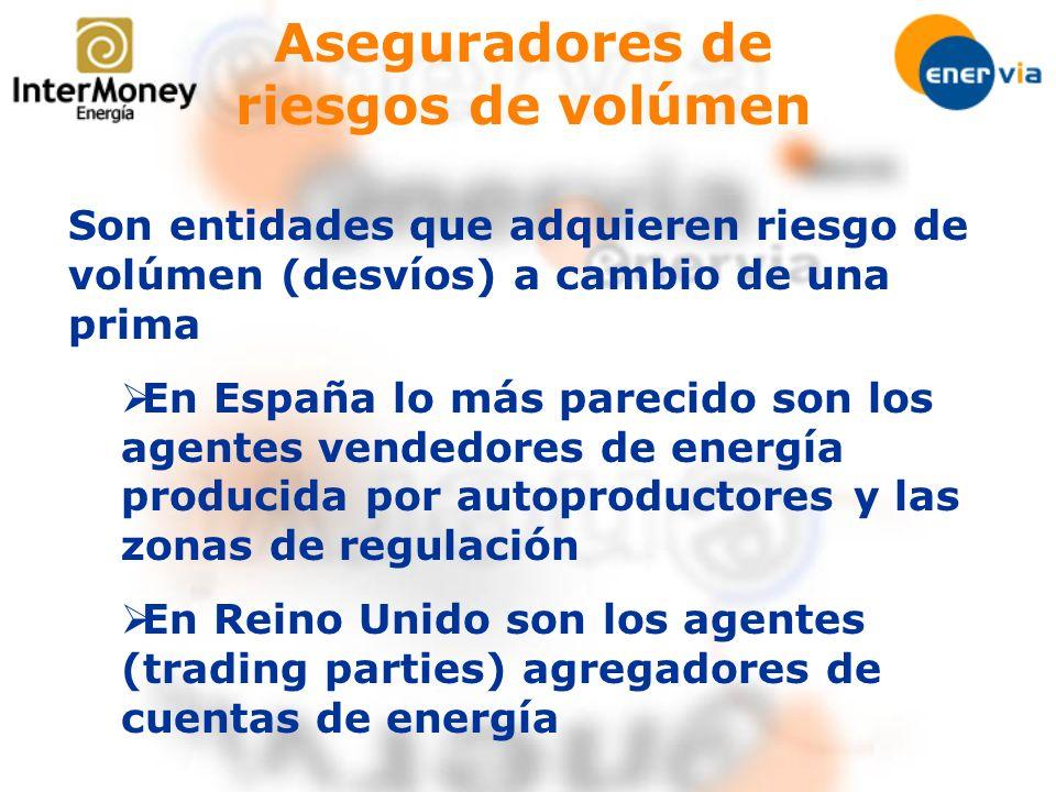 Aseguradores de riesgos de volúmen Son entidades que adquieren riesgo de volúmen (desvíos) a cambio de una prima En España lo más parecido son los age