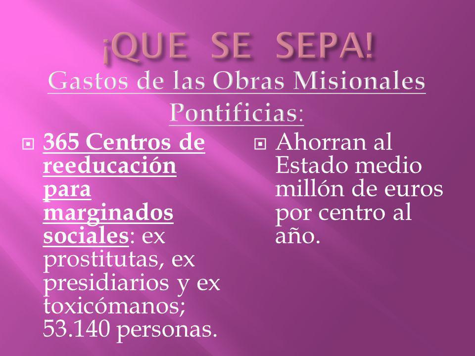 365 Centros de reeducación para marginados sociales : ex prostitutas, ex presidiarios y ex toxicómanos; 53.140 personas. Ahorran al Estado medio milló
