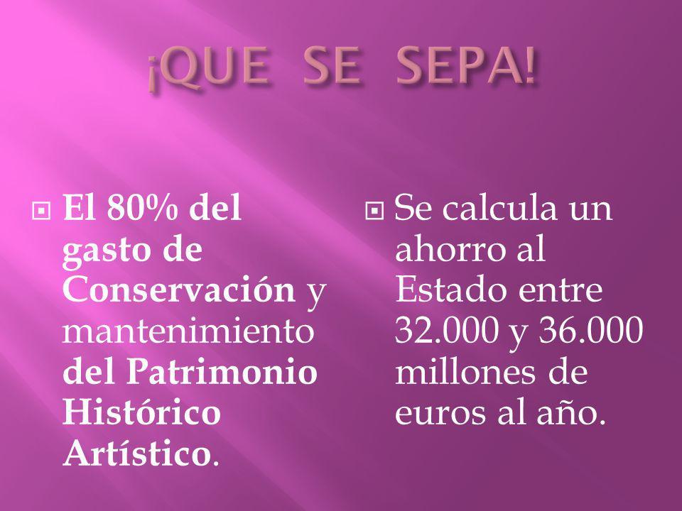El 80% del gasto de Conservación y mantenimiento del Patrimonio Histórico Artístico. Se calcula un ahorro al Estado entre 32.000 y 36.000 millones de