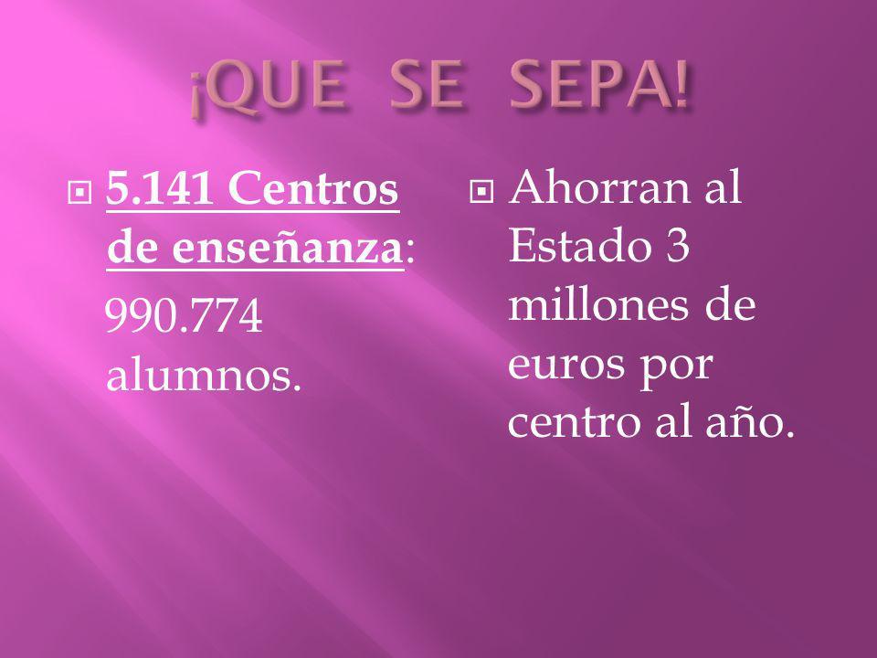 5.141 Centros de enseñanza : 990.774 alumnos. Ahorran al Estado 3 millones de euros por centro al año.