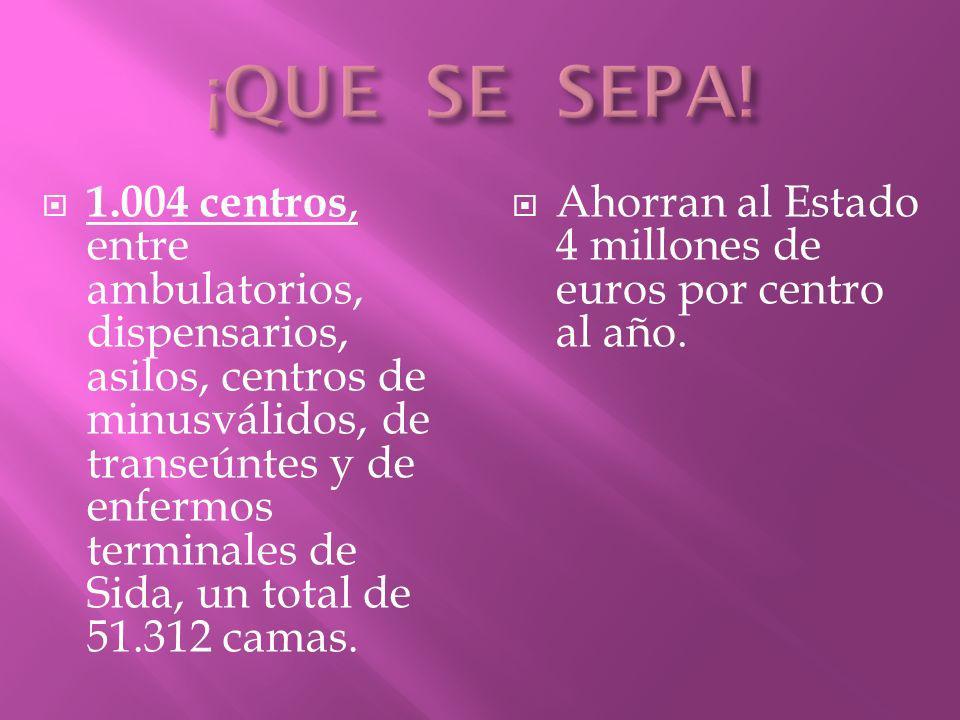 1.004 centros, entre ambulatorios, dispensarios, asilos, centros de minusválidos, de transeúntes y de enfermos terminales de Sida, un total de 51.312