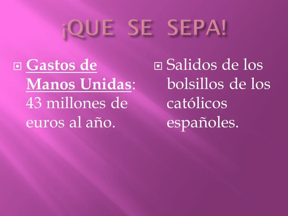 Gastos de Manos Unidas : 43 millones de euros al año. Salidos de los bolsillos de los católicos españoles.