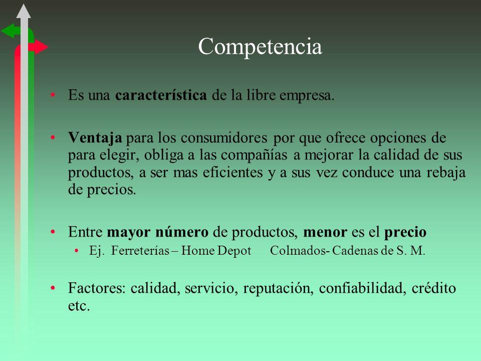 Competencia Es una característica de la libre empresa. Ventaja para los consumidores por que ofrece opciones de para elegir, obliga a las compañías a