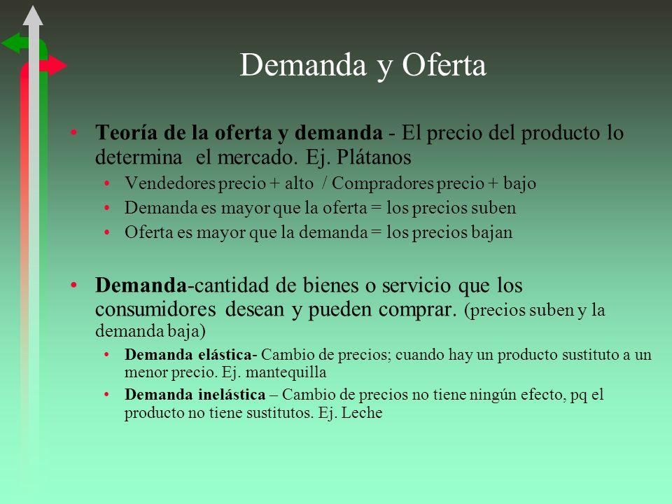 Demanda y Oferta Teoría de la oferta y demanda - El precio del producto lo determina el mercado. Ej. Plátanos Vendedores precio + alto / Compradores p