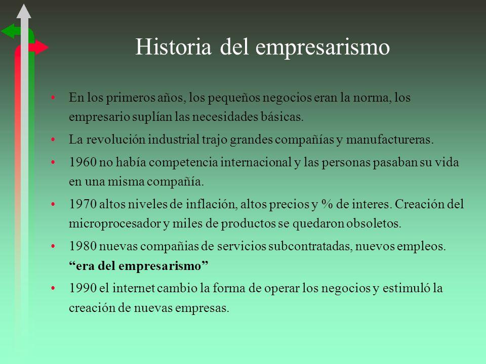 Historia del empresarismo En los primeros años, los pequeños negocios eran la norma, los empresario suplían las necesidades básicas. La revolución ind