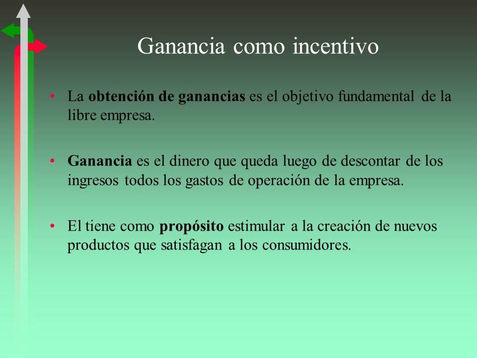 Ganancia como incentivo La obtención de ganancias es el objetivo fundamental de la libre empresa.
