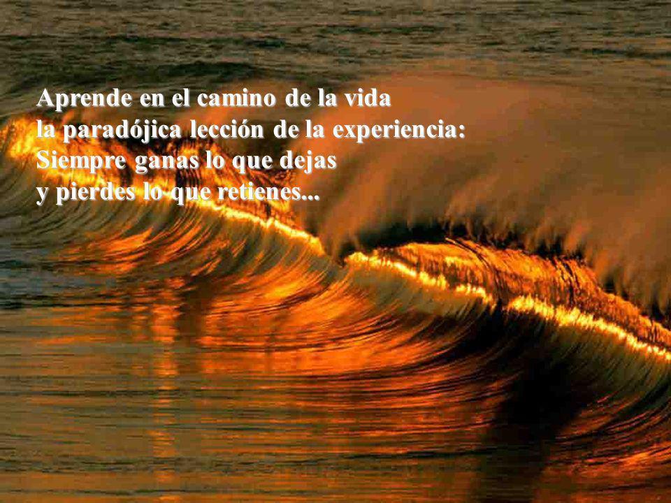 Aprende en el camino de la vida la paradójica lección de la experiencia: Siempre ganas lo que dejas y pierdes lo que retienes...