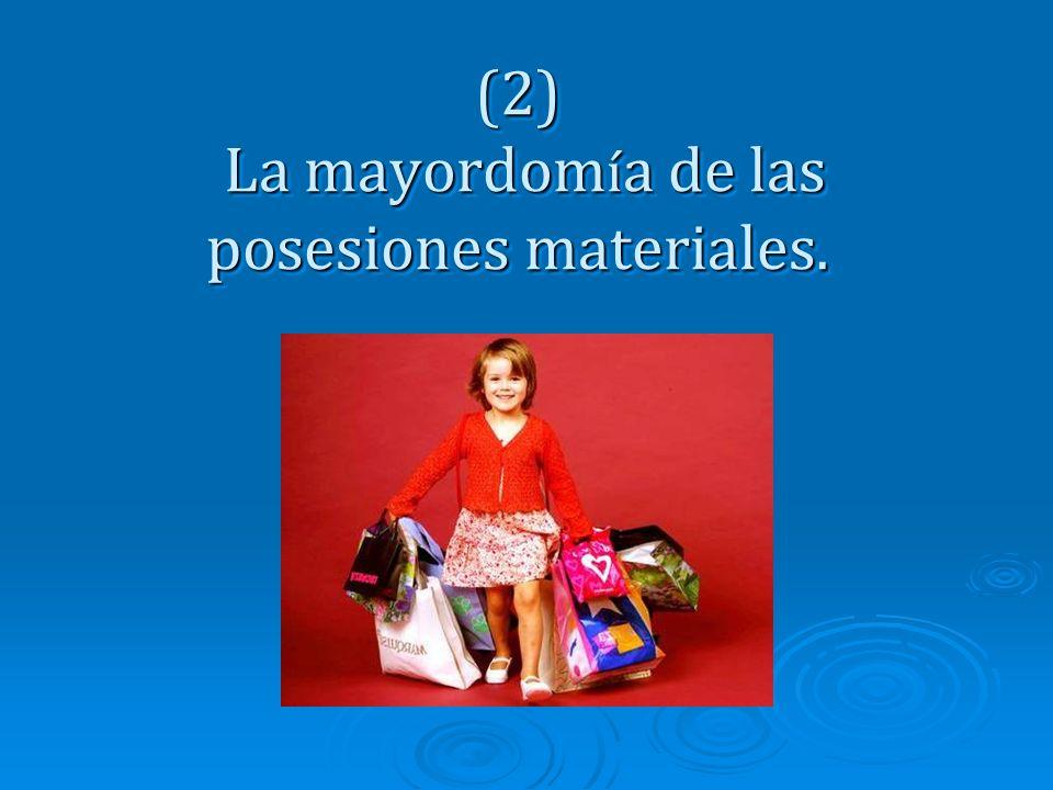 (2) La mayordom í a de las posesiones materiales.