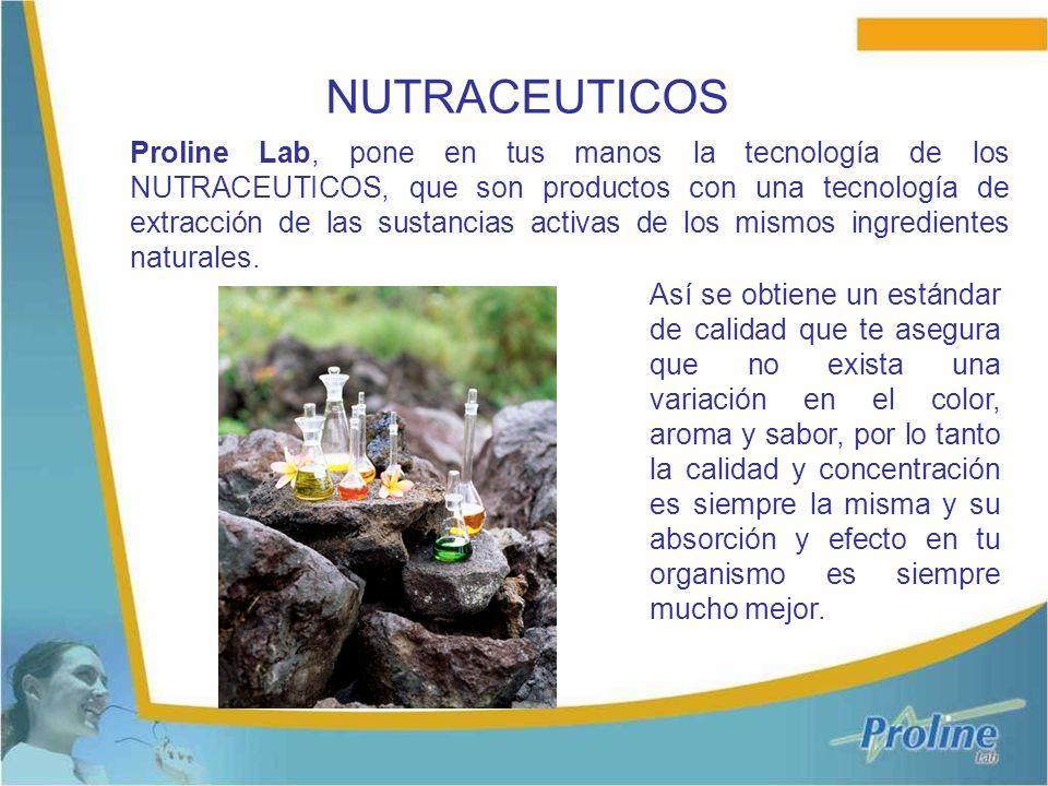 Proline Lab, pone en tus manos la tecnología de los NUTRACEUTICOS, que son productos con una tecnología de extracción de las sustancias activas de los mismos ingredientes naturales.