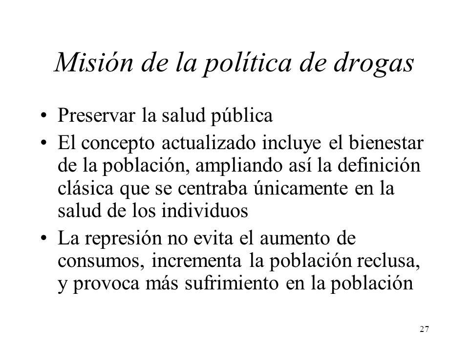 27 Misión de la política de drogas Preservar la salud pública El concepto actualizado incluye el bienestar de la población, ampliando así la definició