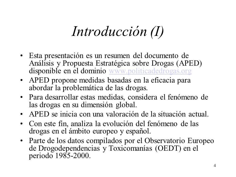 4 Introducción (I) Esta presentación es un resumen del documento de Análisis y Propuesta Estratégica sobre Drogas (APED) disponible en el dominio www.