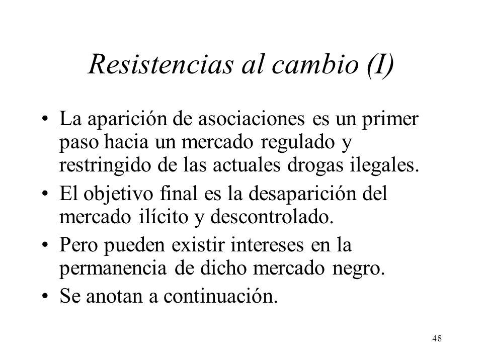 48 Resistencias al cambio (I) La aparición de asociaciones es un primer paso hacia un mercado regulado y restringido de las actuales drogas ilegales.
