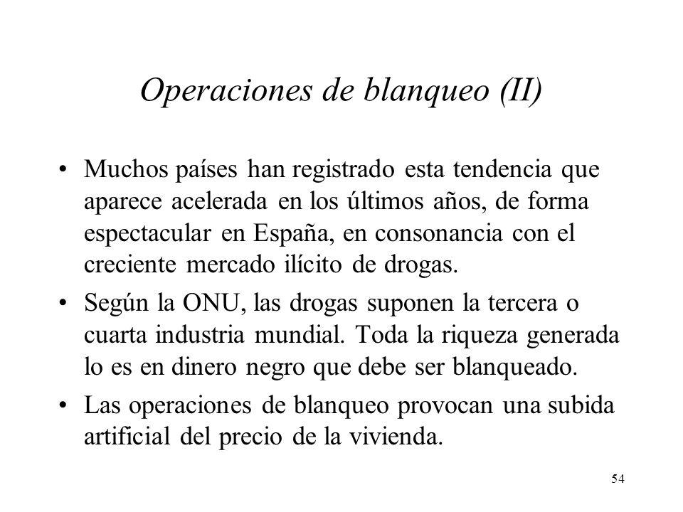 54 Operaciones de blanqueo (II) Muchos países han registrado esta tendencia que aparece acelerada en los últimos años, de forma espectacular en España