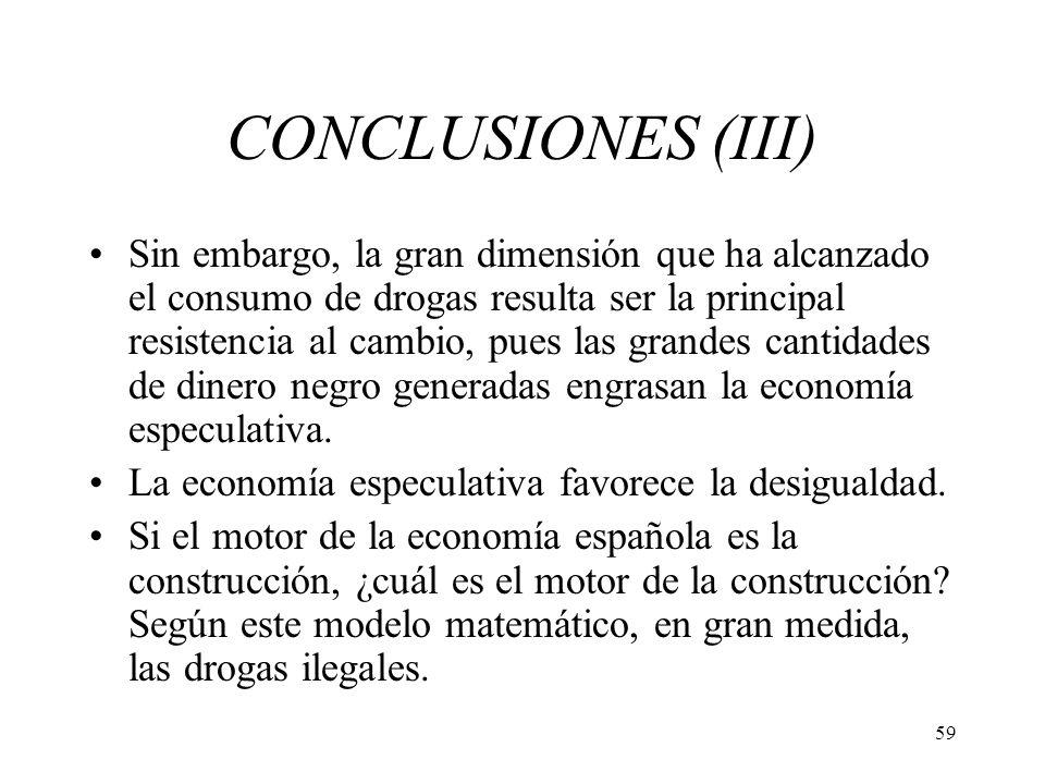 59 CONCLUSIONES (III) Sin embargo, la gran dimensión que ha alcanzado el consumo de drogas resulta ser la principal resistencia al cambio, pues las gr