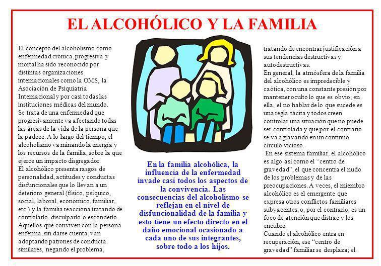 El concepto del alcoholismo como enfermedad crónica, progresiva y mortal ha sido reconocido por distintas organizaciones internacionales como la OMS, la Asociación de Psiquiatría Internacional y por casi todas las instituciones médicas del mundo.