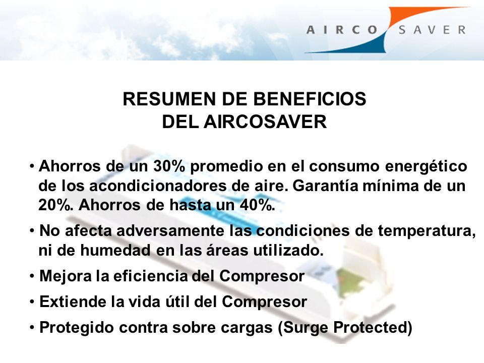 Ahorros de un 30% promedio en el consumo energético de los acondicionadores de aire. Garantía mínima de un 20%. Ahorros de hasta un 40%. No afecta adv