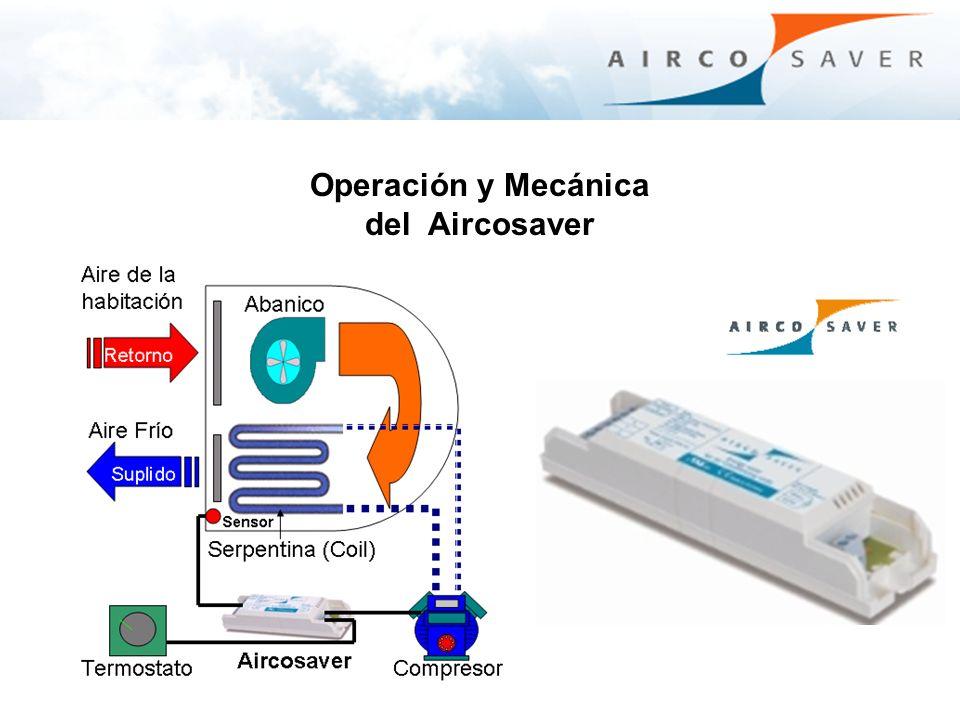 Operación y Mecánica del Aircosaver Primero Al encender el Acondicionador de Aire AC, el Aircosaver toma un minuto para evaluar la temperatura inicial del aire de la habitación a través de un sensor de temperatura antes de encender el compresor.
