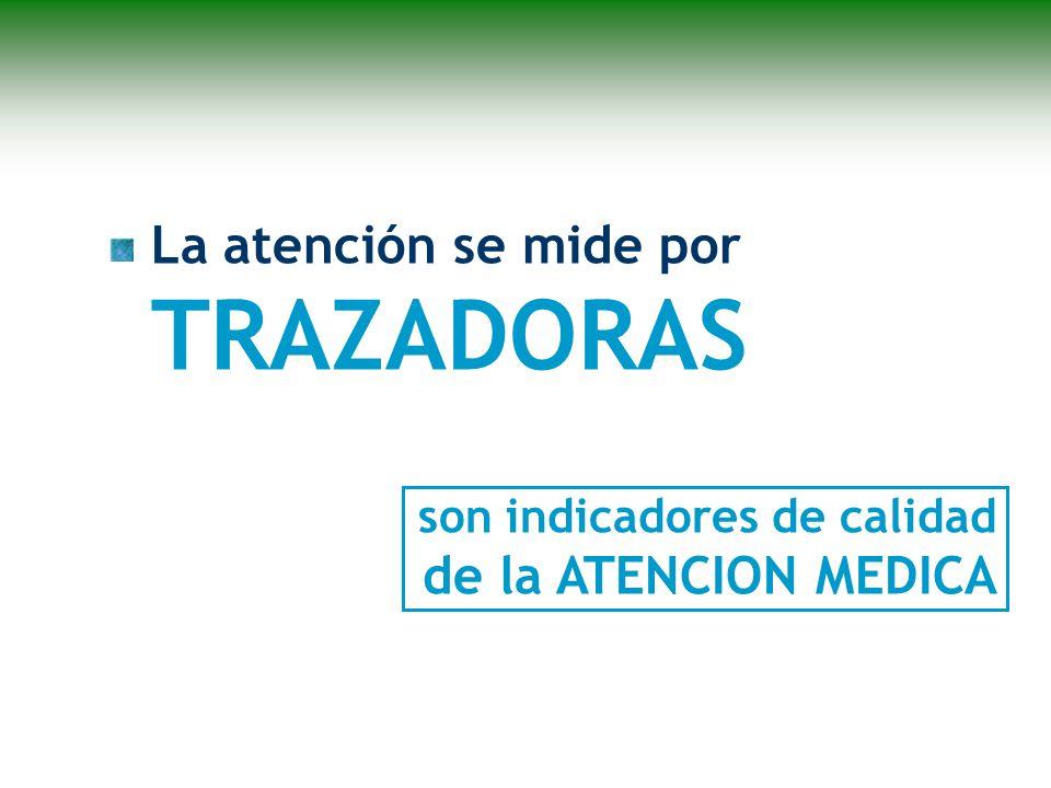 La atención se mide por TRAZADORAS son indicadores de calidad de la ATENCION MEDICA