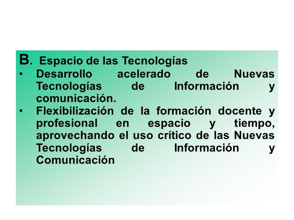 B. Espacio de las Tecnologías Desarrollo acelerado de Nuevas Tecnologías de Información y comunicación. Flexibilización de la formación docente y prof