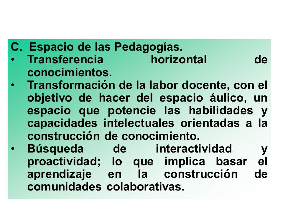 C. Espacio de las Pedagogías. Transferencia horizontal de conocimientos. Transformación de la labor docente, con el objetivo de hacer del espacio áuli