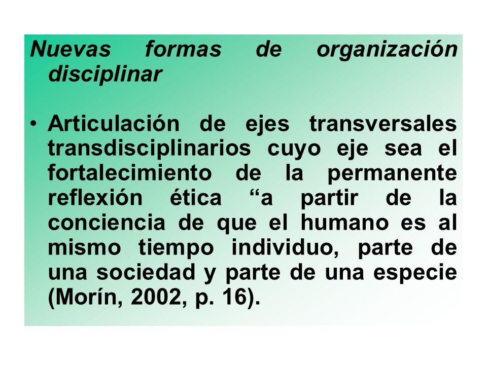 Nuevas formas de organización disciplinar Articulación de ejes transversales transdisciplinarios cuyo eje sea el fortalecimiento de la permanente reflexión ética a partir de la conciencia de que el humano es al mismo tiempo individuo, parte de una sociedad y parte de una especie (Morín, 2002, p.
