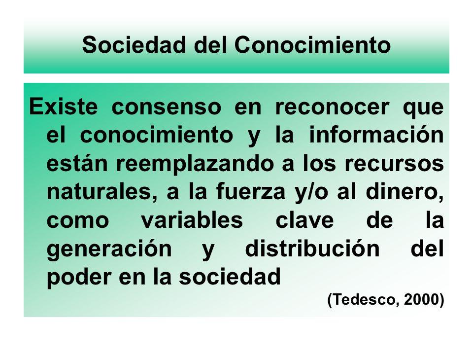 Sociedad del Conocimiento Existe consenso en reconocer que el conocimiento y la información están reemplazando a los recursos naturales, a la fuerza y/o al dinero, como variables clave de la generación y distribución del poder en la sociedad (Tedesco, 2000)