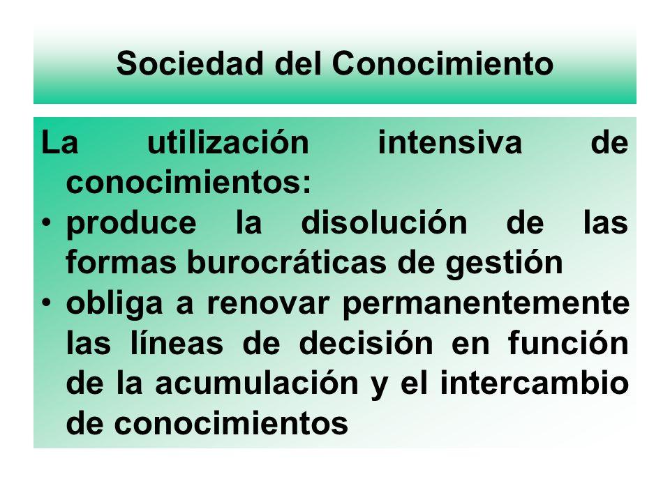 Sociedad del Conocimiento La utilización intensiva de conocimientos: produce la disolución de las formas burocráticas de gestión obliga a renovar permanentemente las líneas de decisión en función de la acumulación y el intercambio de conocimientos