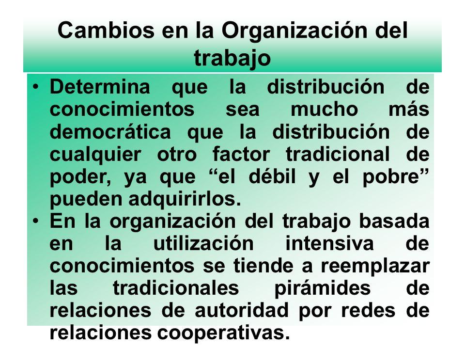 Cambios en la Organización del trabajo Determina que la distribución de conocimientos sea mucho más democrática que la distribución de cualquier otro factor tradicional de poder, ya que el débil y el pobre pueden adquirirlos.
