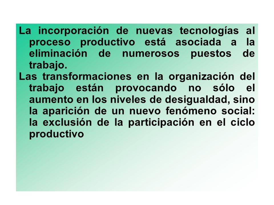 La incorporación de nuevas tecnologías al proceso productivo está asociada a la eliminación de numerosos puestos de trabajo. Las transformaciones en l
